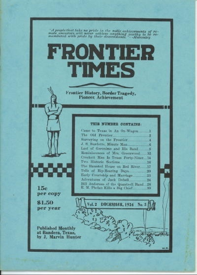 Image for Frontier Times Magazine, December 1924