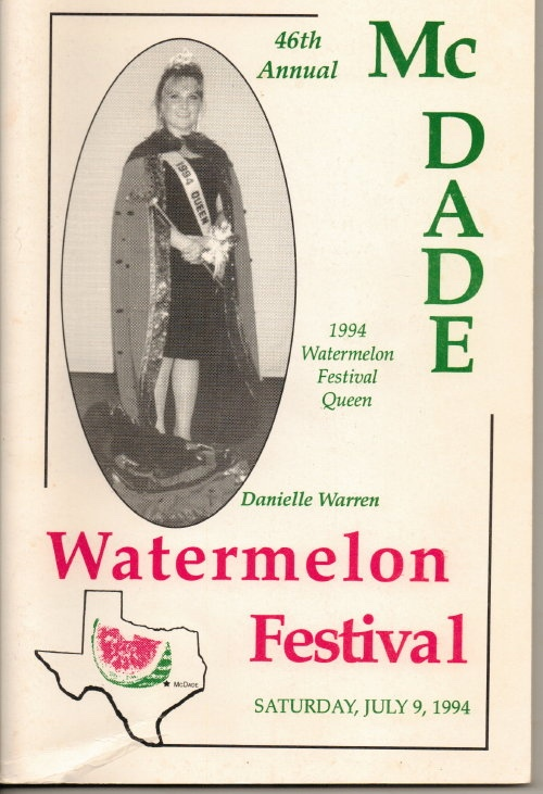Image for McDade's Annual Watermelon Festival (McDade, Texas)  46th Annual, 1994 Watermelon Festival Queen, Danielle Warren, Saturday, July 9, 1994