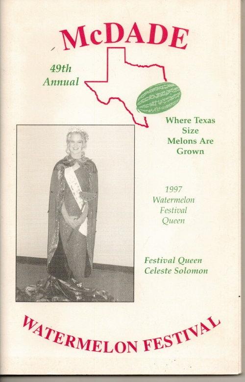Image for McDade's Annual Watermelon Festival (McDade, Texas)  49th Annual, 1997 Festival Queen Celeste Solomon