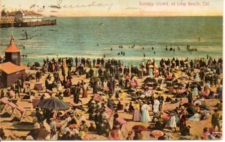 Image for Sunday Crowd, At Long Beach, California, Postcard
