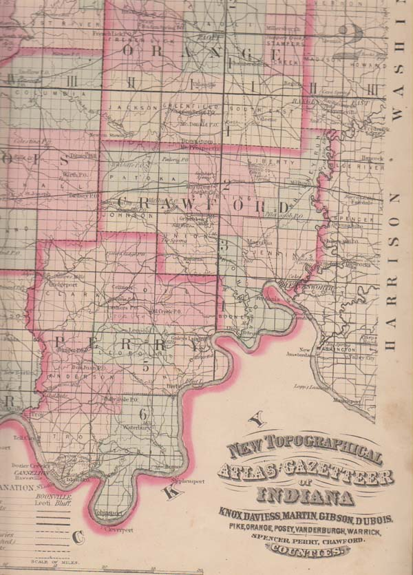 Image for New Topographical Atlas and Gazetteer of Indiana, Comprising a Topographical View of the Several Counties of the State, Together with a Railroad Map of Ohio, Indiana, and Illinois, an Alphabetical Gazetteer ...