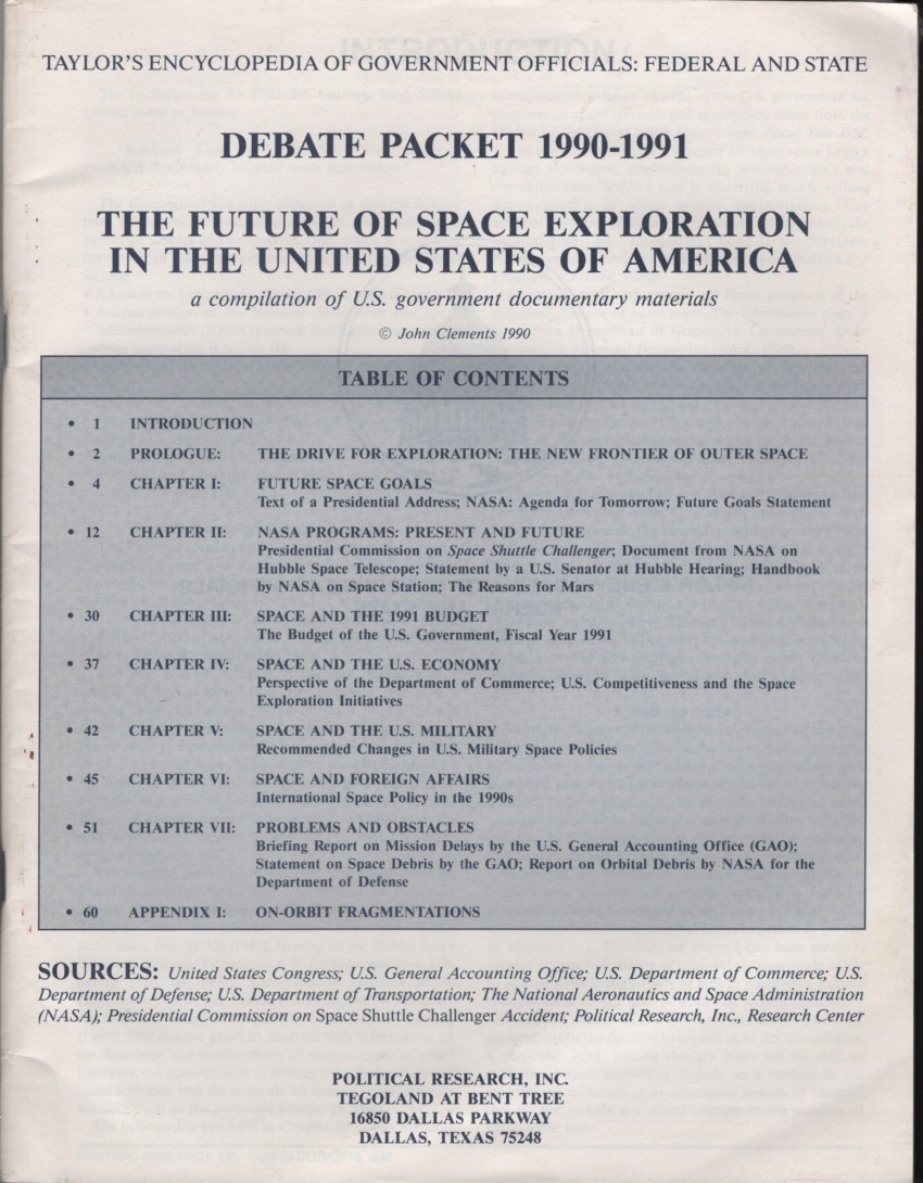 Image for Debate Packet 1990-1991: the Future of Space Exploration in the United States of America: a Compilation of U. S. Government Documentary Materials