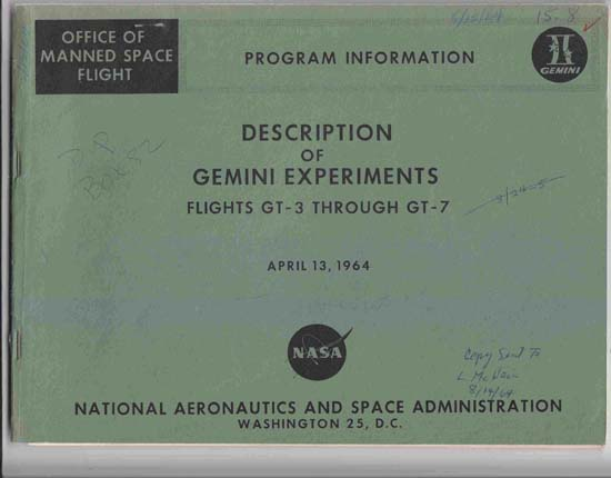Image for Description of Gemini Experiments, Flights GT-3 through GT-7