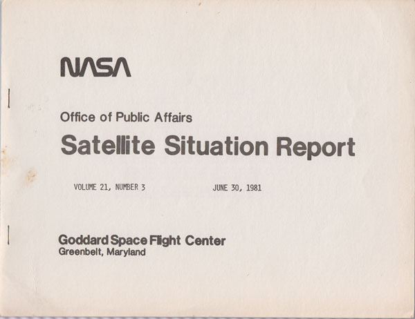 Image for Satellite Situation Report 21, No. 3  (June 30, 1981)