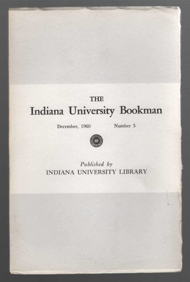 Image for The Indiana University Bookman, December, 1960, Number 5 [special issue on Vachel Lindsay]