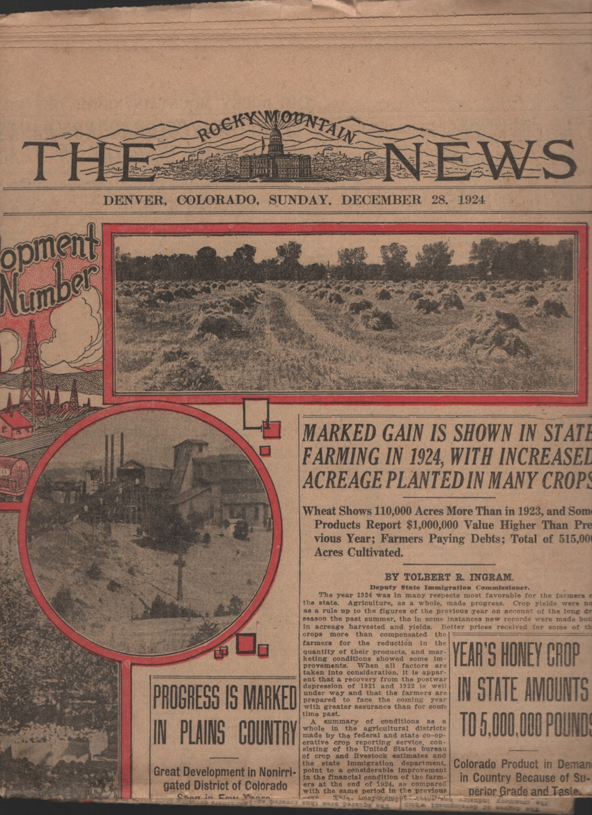 Image for Agriculture, Horticulture, Live Stock, Mining and Oil Section: the Rocky Mountain News Sunday, Dec. 28, 1924