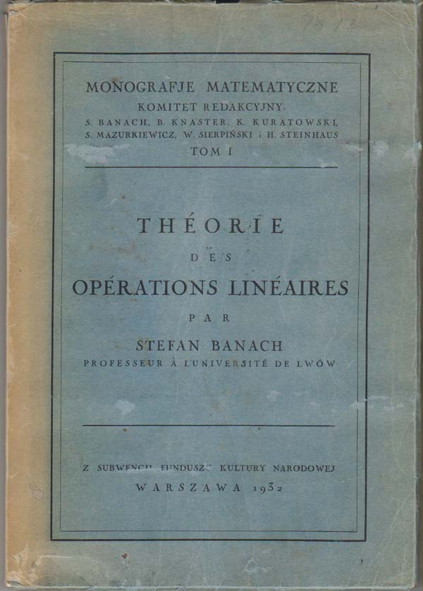Image for Thorie Des Oprations (Operations) Linaires (Lineaires). Monografje Matematyczne Tom I.