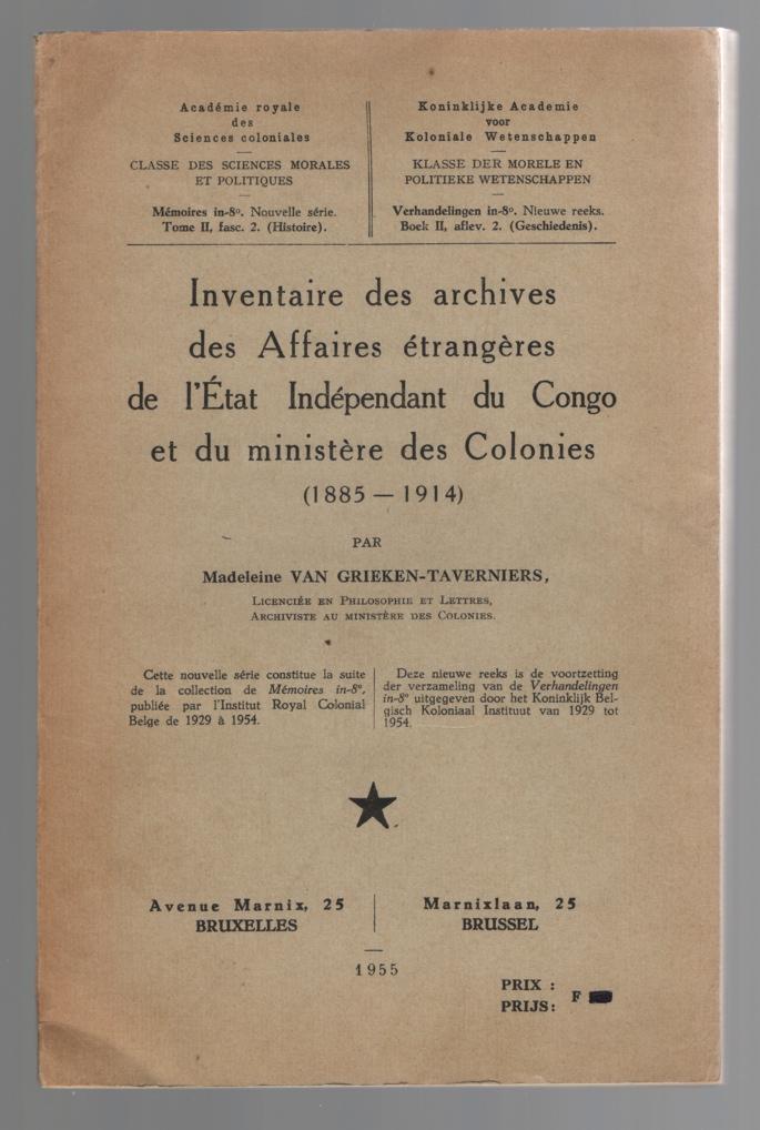 Image for Inventaire des archives des Affaires etrangeres de l'Etat Independant du Congo et du ministere des Colonies 1885-1914