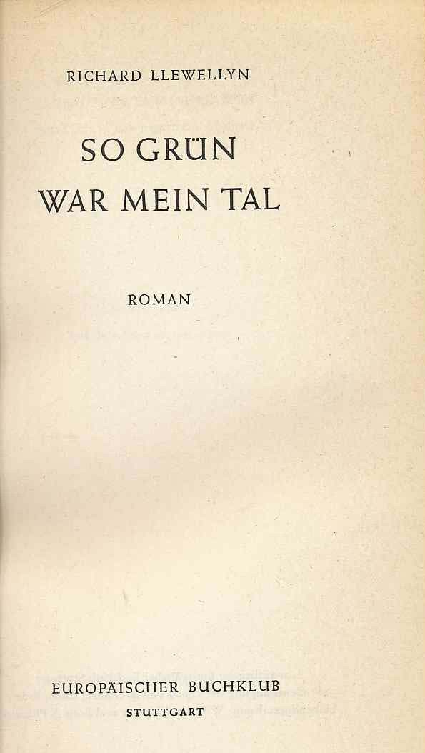 Image for So Grun War Mein Tal: How Green Was My Valley