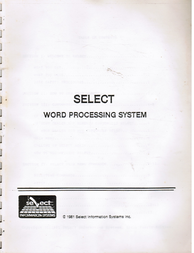 Image for Select Word Processing System