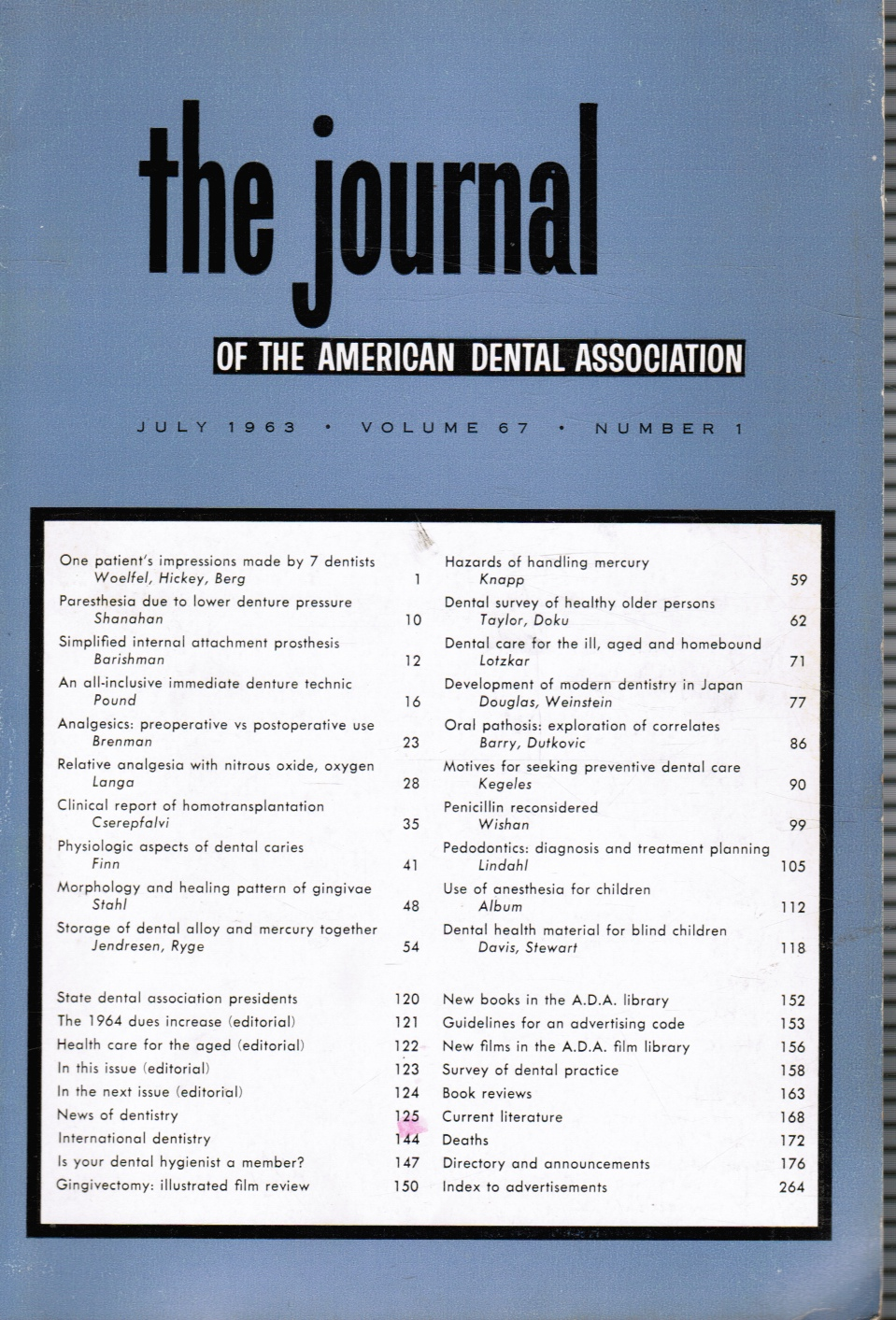 Image for The Journal of the American Dental Association: July 1963 JADA