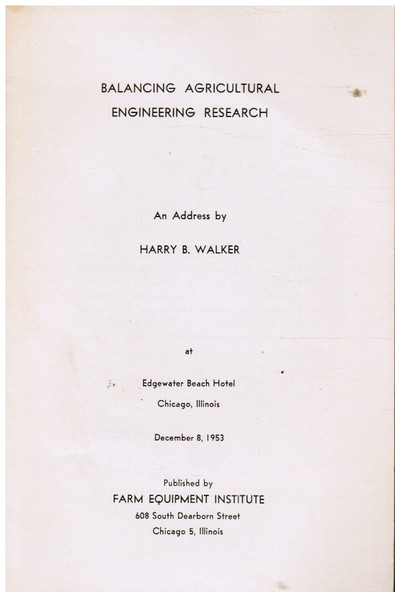 Image for Balancing Agricultural Engineering Research