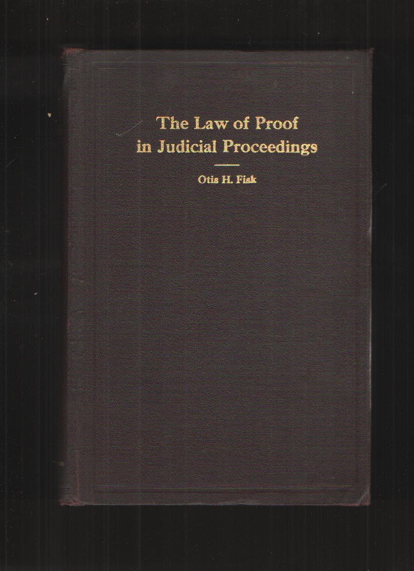 Image for Fundamentals of the Law of Proof in Judicial Proceedings