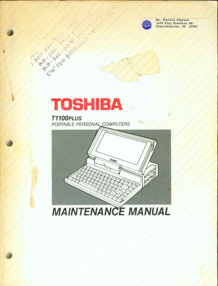 Image for T1100 PLUS PERSONAL COMPUTER Maintenance Manual
