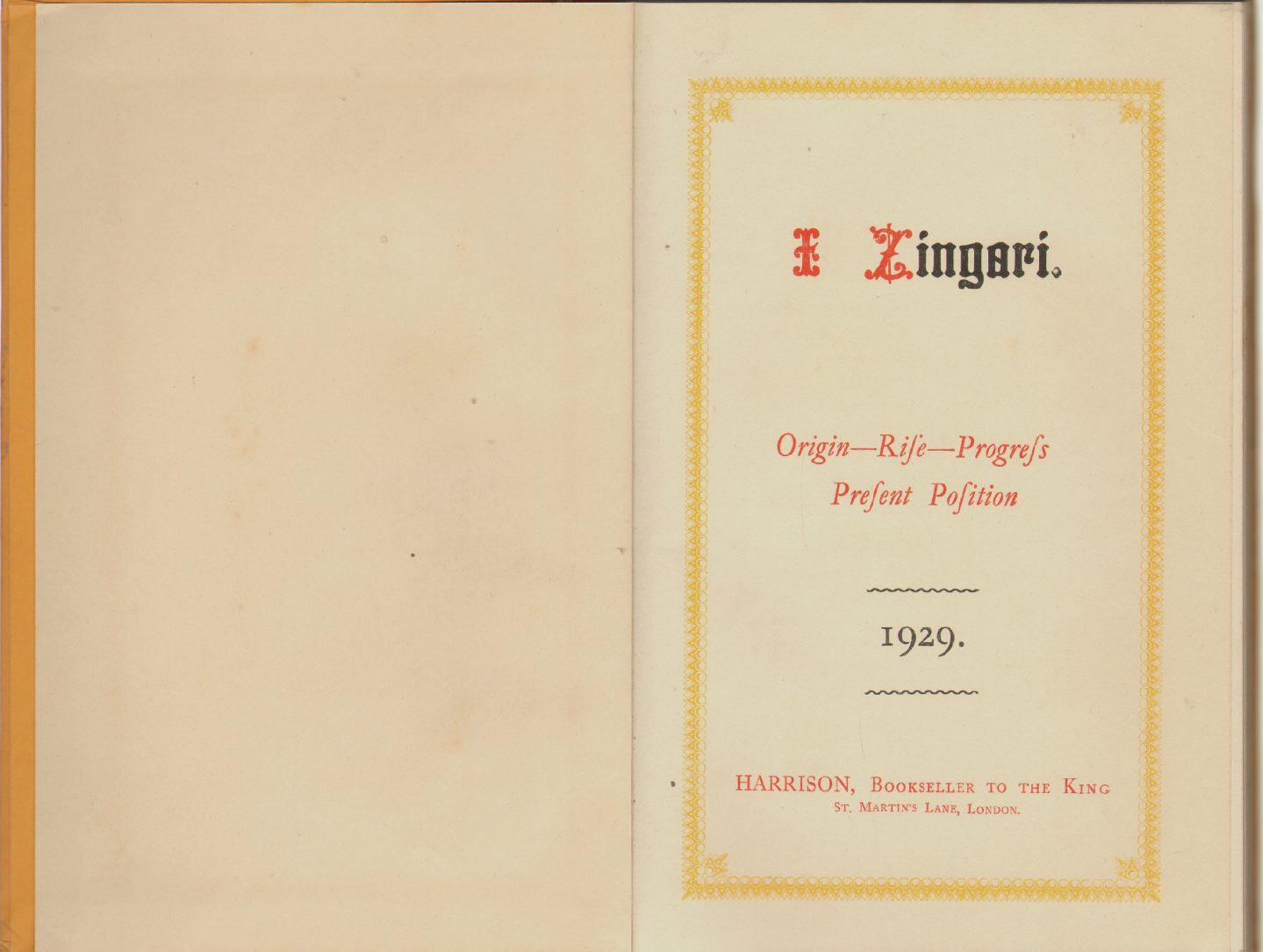 I ZINGARI:  Origin - Rise - Progress - Present Position, Governor, 1st Wicket Down