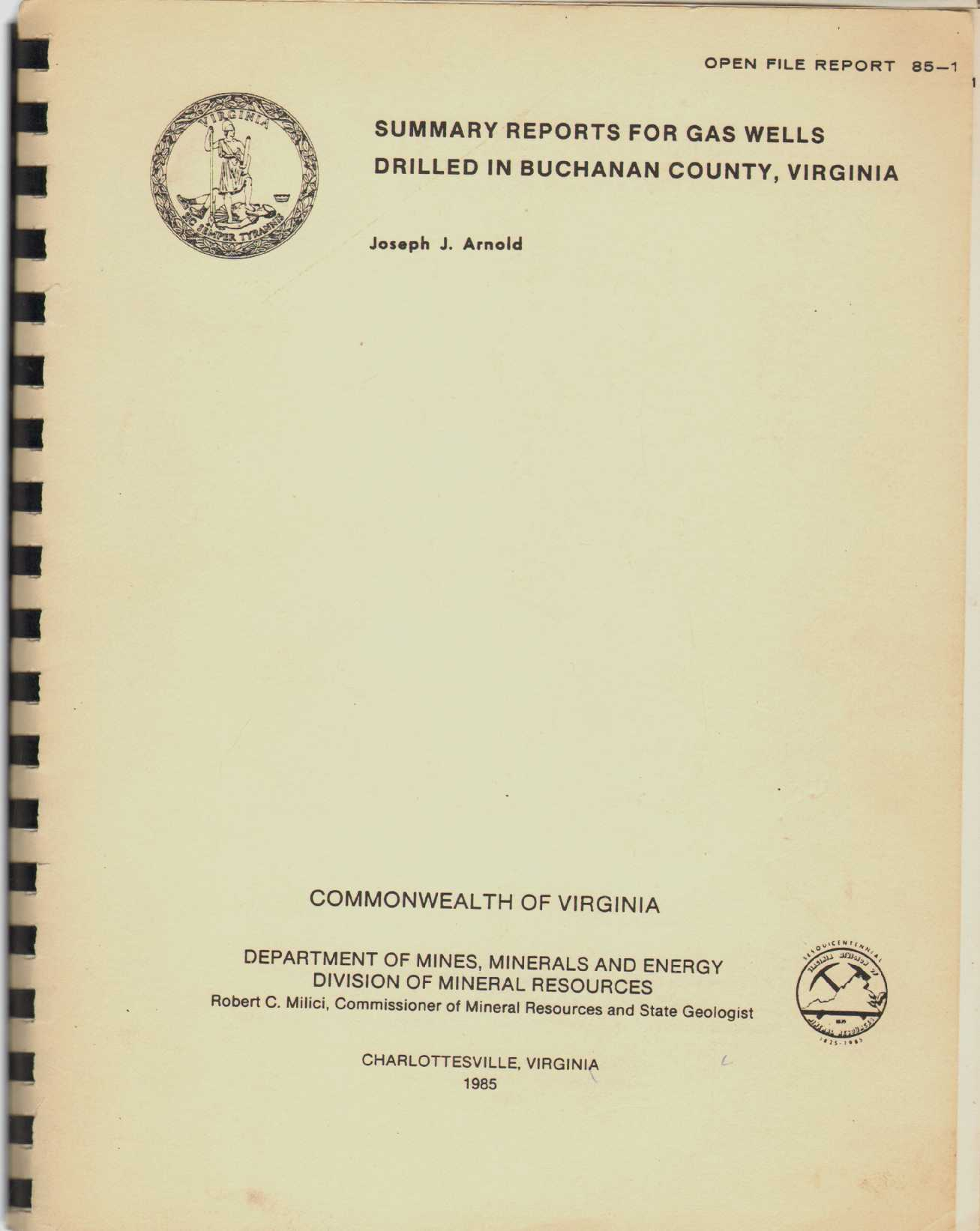 SUMMARY REPORTS FOR GAS WELLS DRILLED IN BUCHANAN COUNTY, VIRGINIA Open File Report 85-1, Arnold, Joseph J
