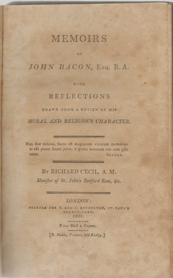 Image for MEMOIRS OF JOHN BACON, ESQ. R.A With Reflections Drawn from a Review of His Moral and Religious Character