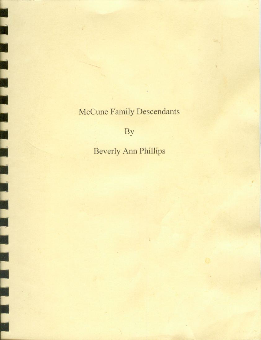 Image for MCCUNE FAMILY DESCENDANTS