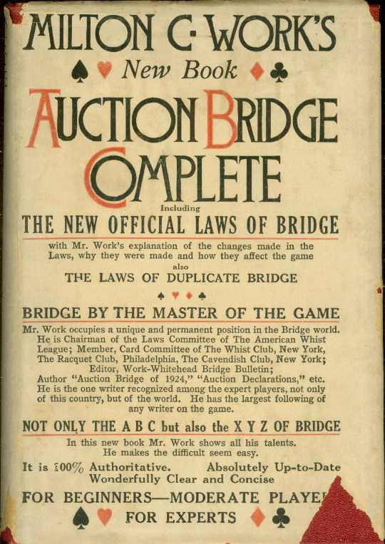 Image for AUCTION BRIDGE COMPLETE Including the 1926 Official Laws of Auction Bridge and the Laws of Duplicate Bridge