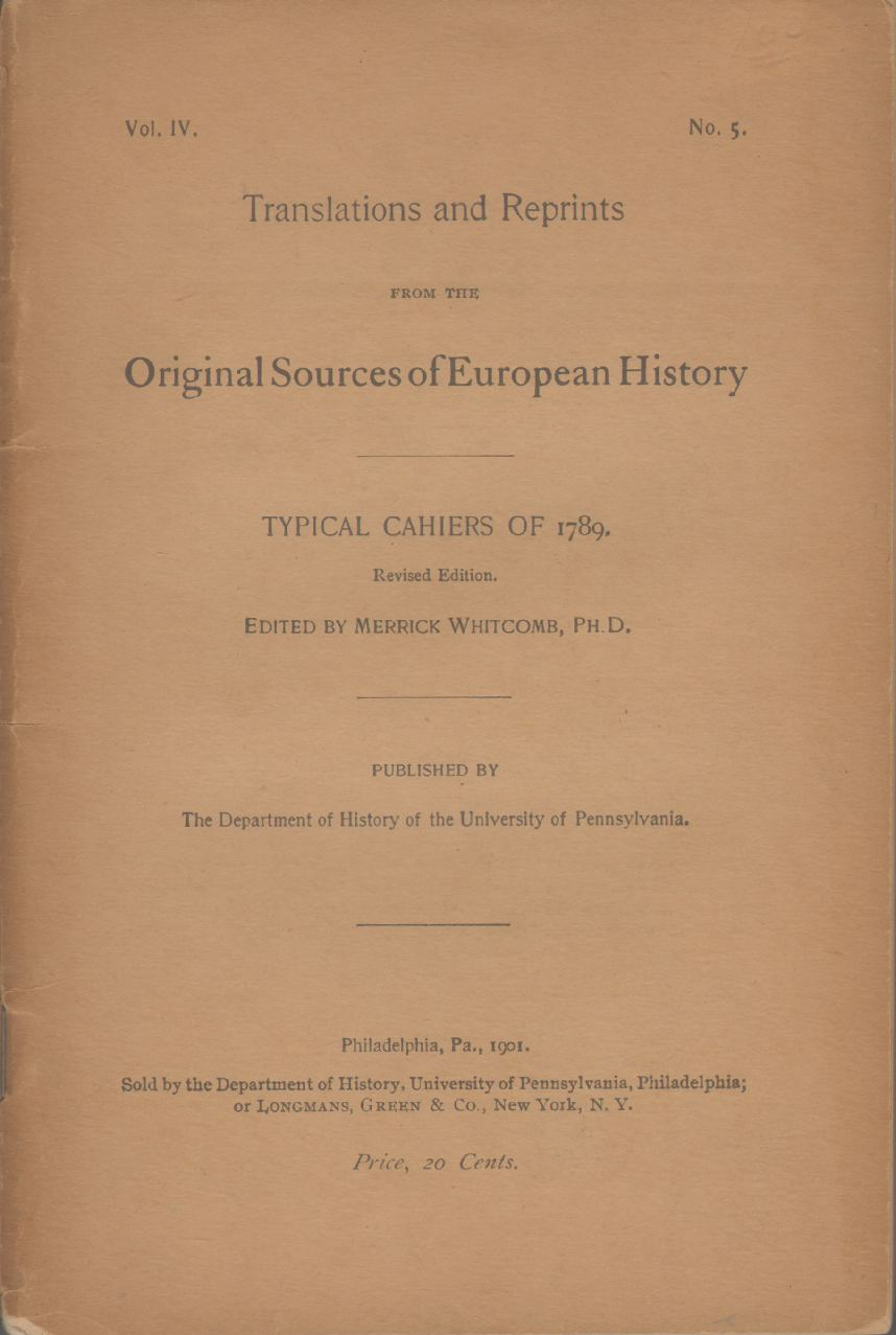 Image for TYPICAL CAHIERS OF 1789 Translations and Reprints from the Original Sources of European History Vol. Iv, No. 5