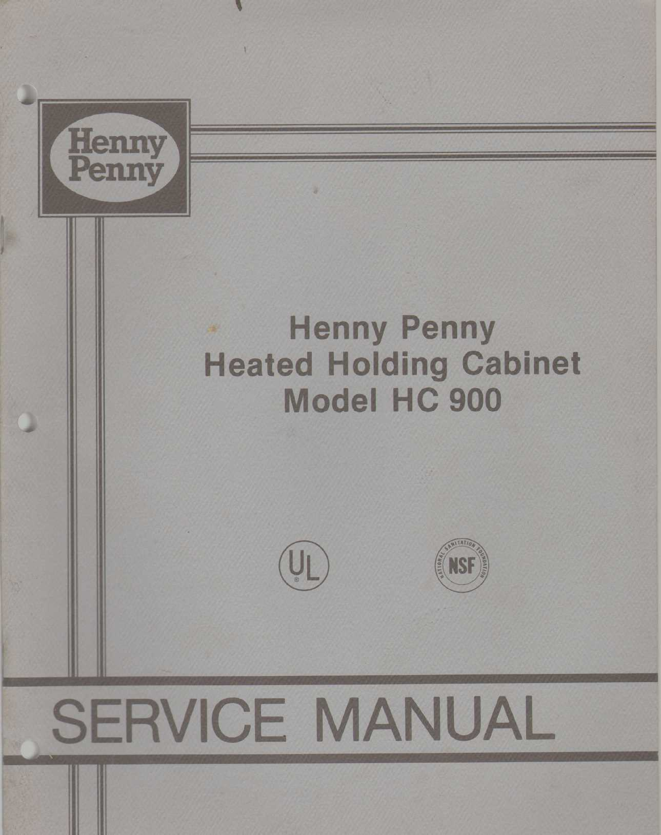 Image for HENNY PENNY HEATED HOLDING CABINET MODEL HC-900 Service Manual