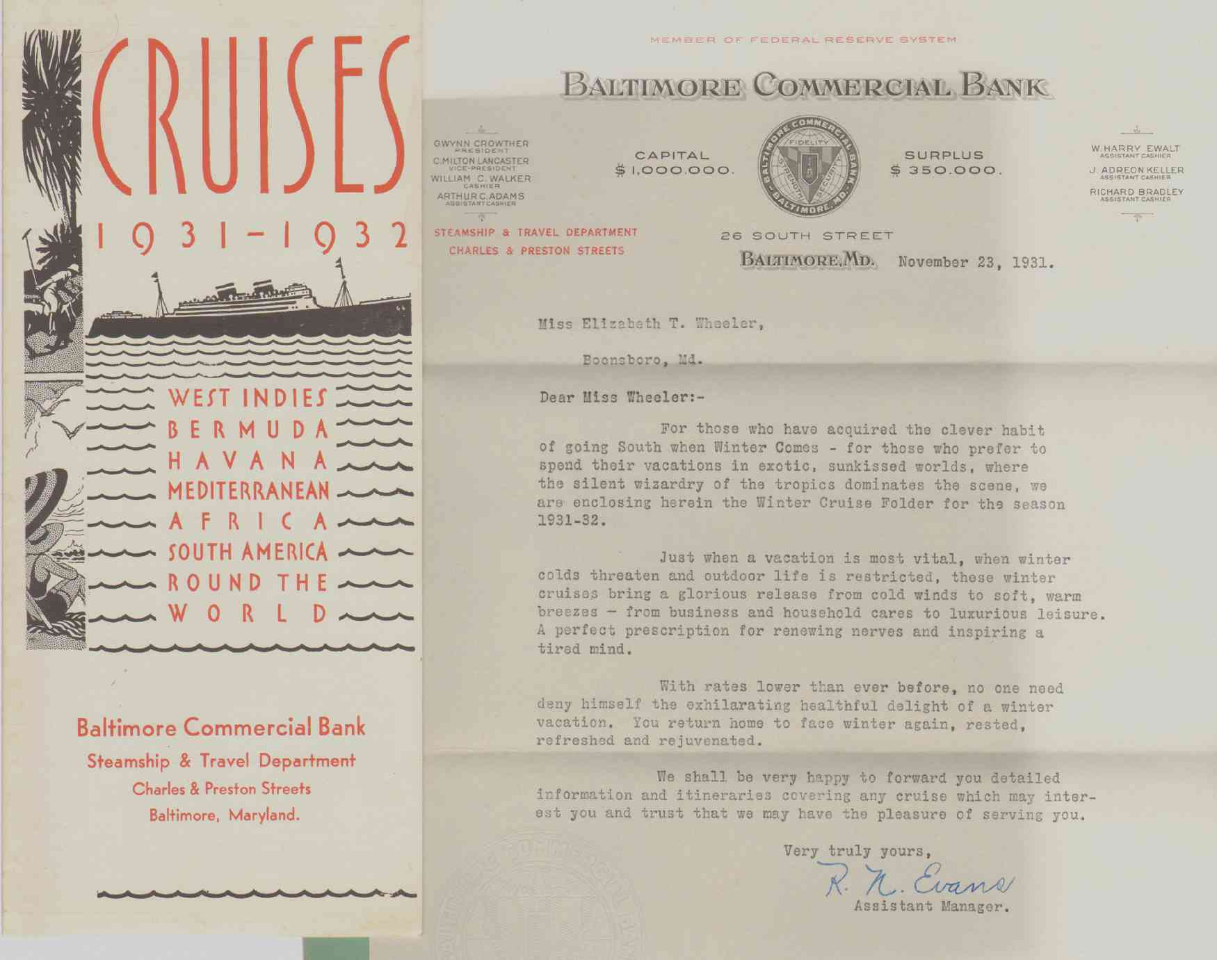 Image for CRUISES 1931 - 1932 West Indies Bermuda Havana Mediterranean Africa South America Round the World