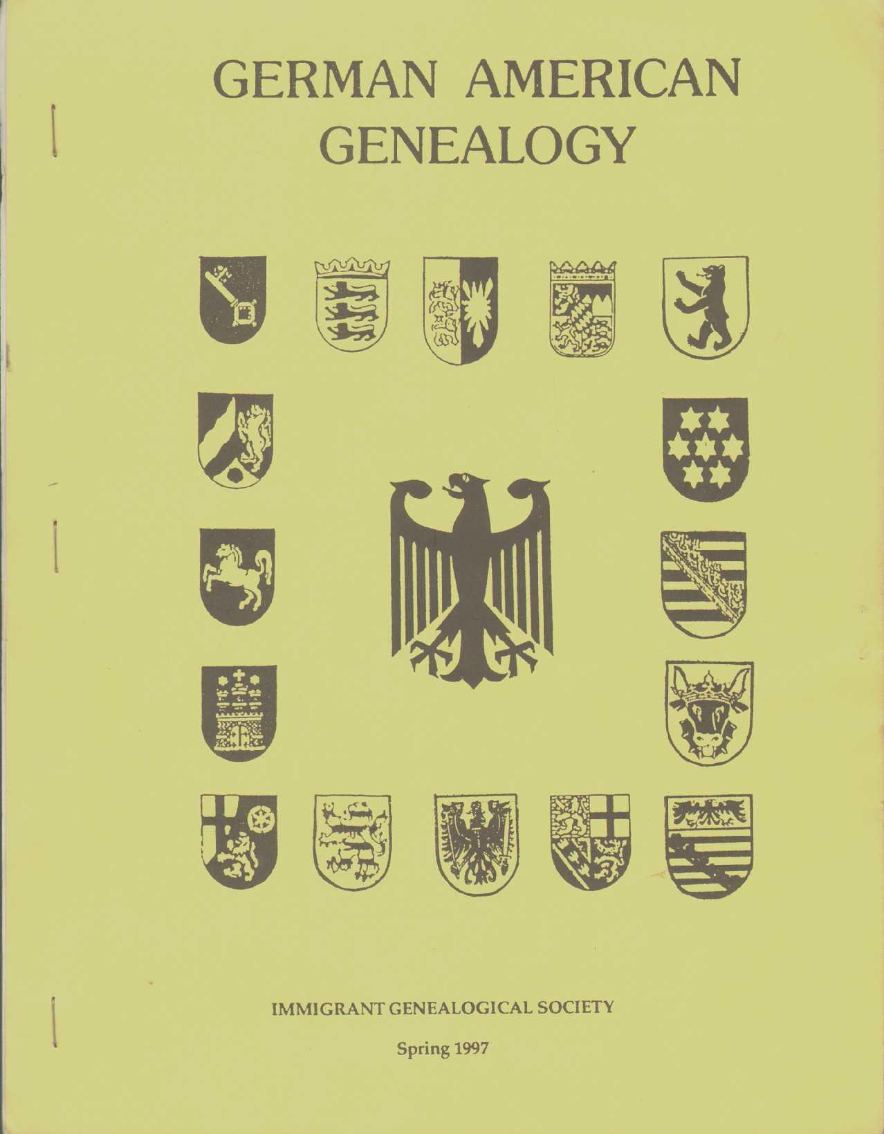 Image for GERMAN AMERICAN GENEALOGY Spring 1997