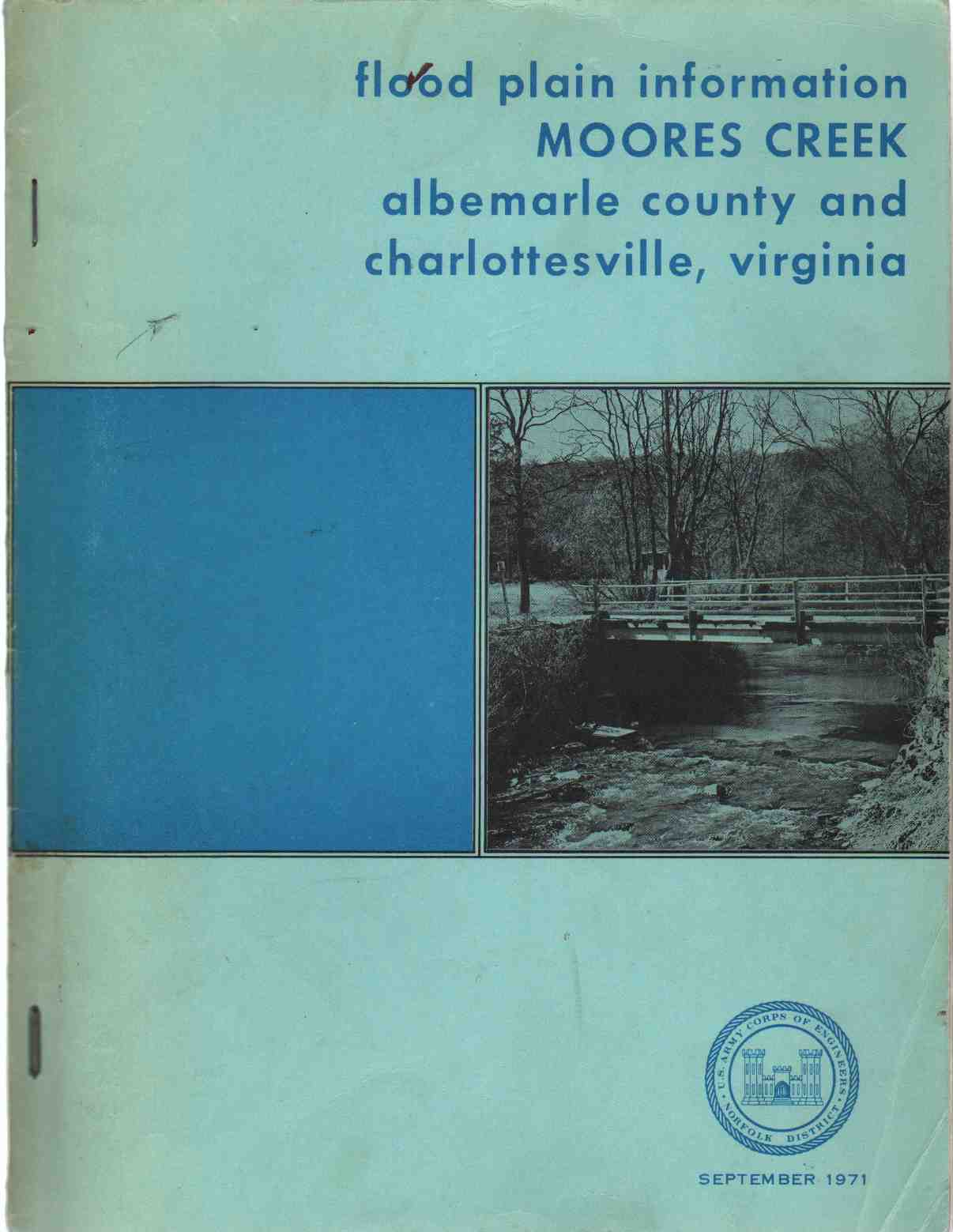 FLOOD PLAIN INFORMATION - MOORES CREEK Albemarle County and Charlottesville, Virginia, Army Corps Of Engineers