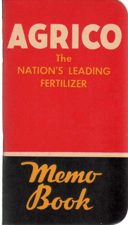 Image for AGRICO FERTILIZER POCKET MEMO BOOK 1950