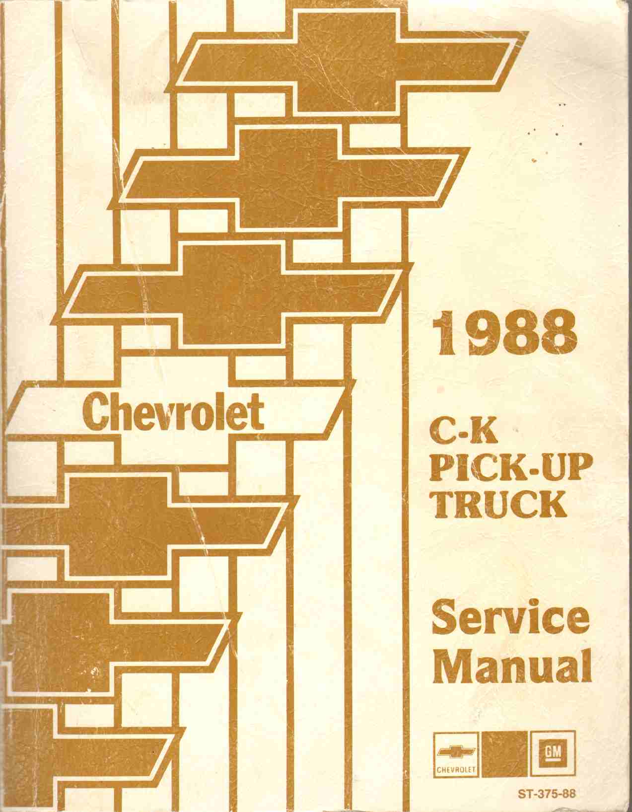 Image for 1988 CHEVROLET C-K PICK-UP TRUCK SERVICE MANUAL