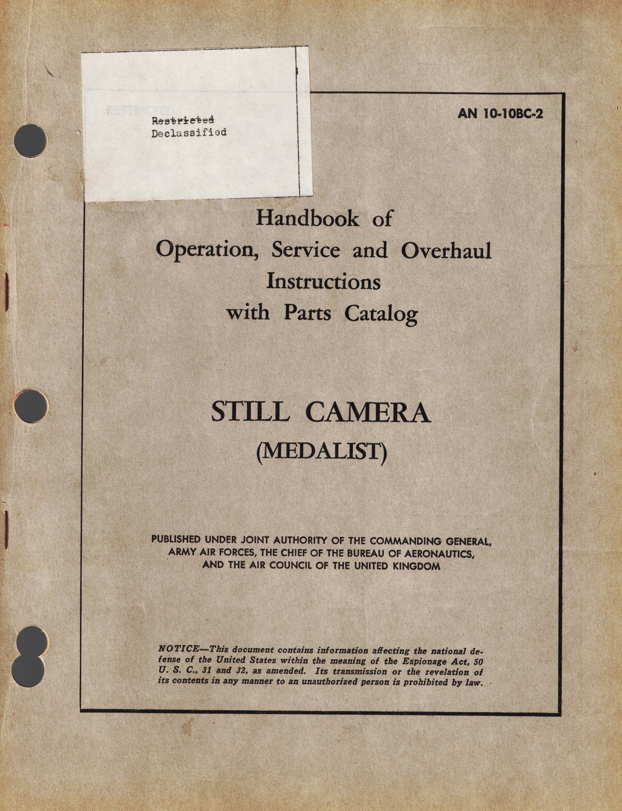 Image for Handbook of Operation, Service and Overhaul Instruction with Parts Catalog - Still Camera (Medalist) [#AN 10-10BC-2]