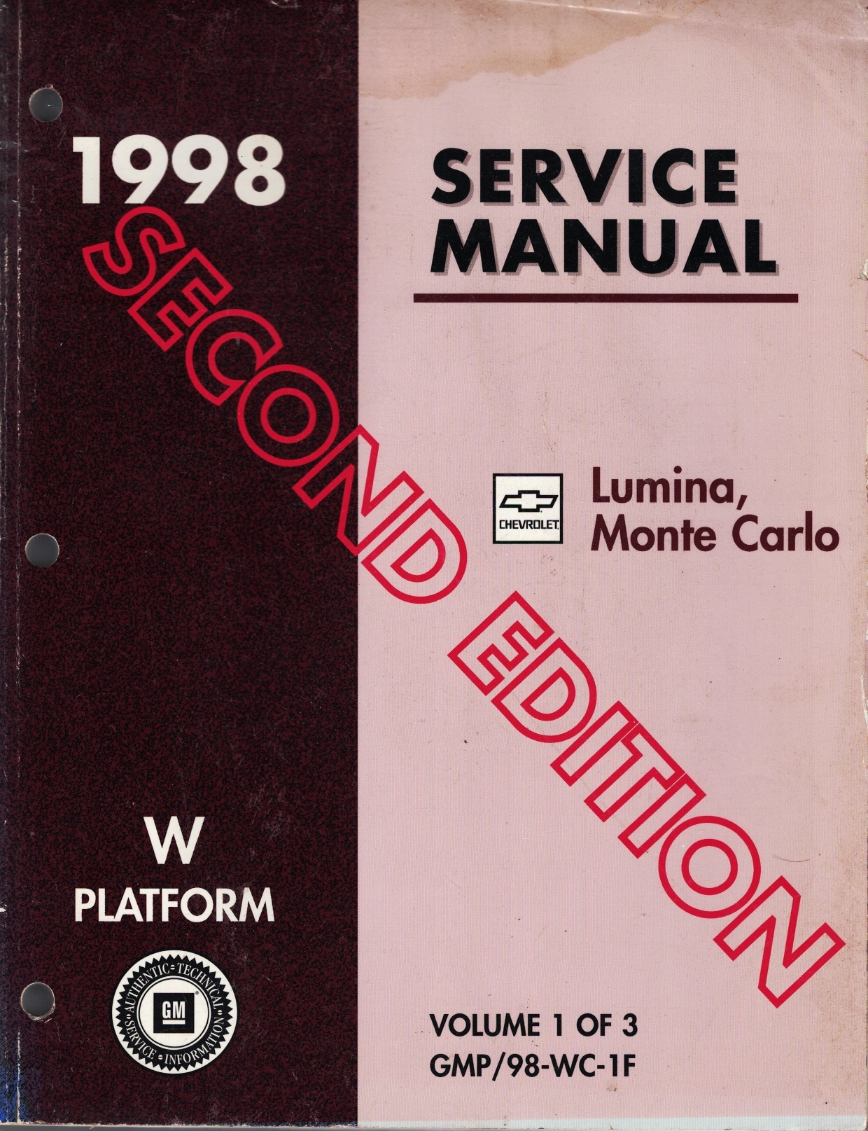 Image for 1998 W-Platform, Chevrolet Lumina and Monte Carlo Service Manual (3 Volume Set) (Second Edition)