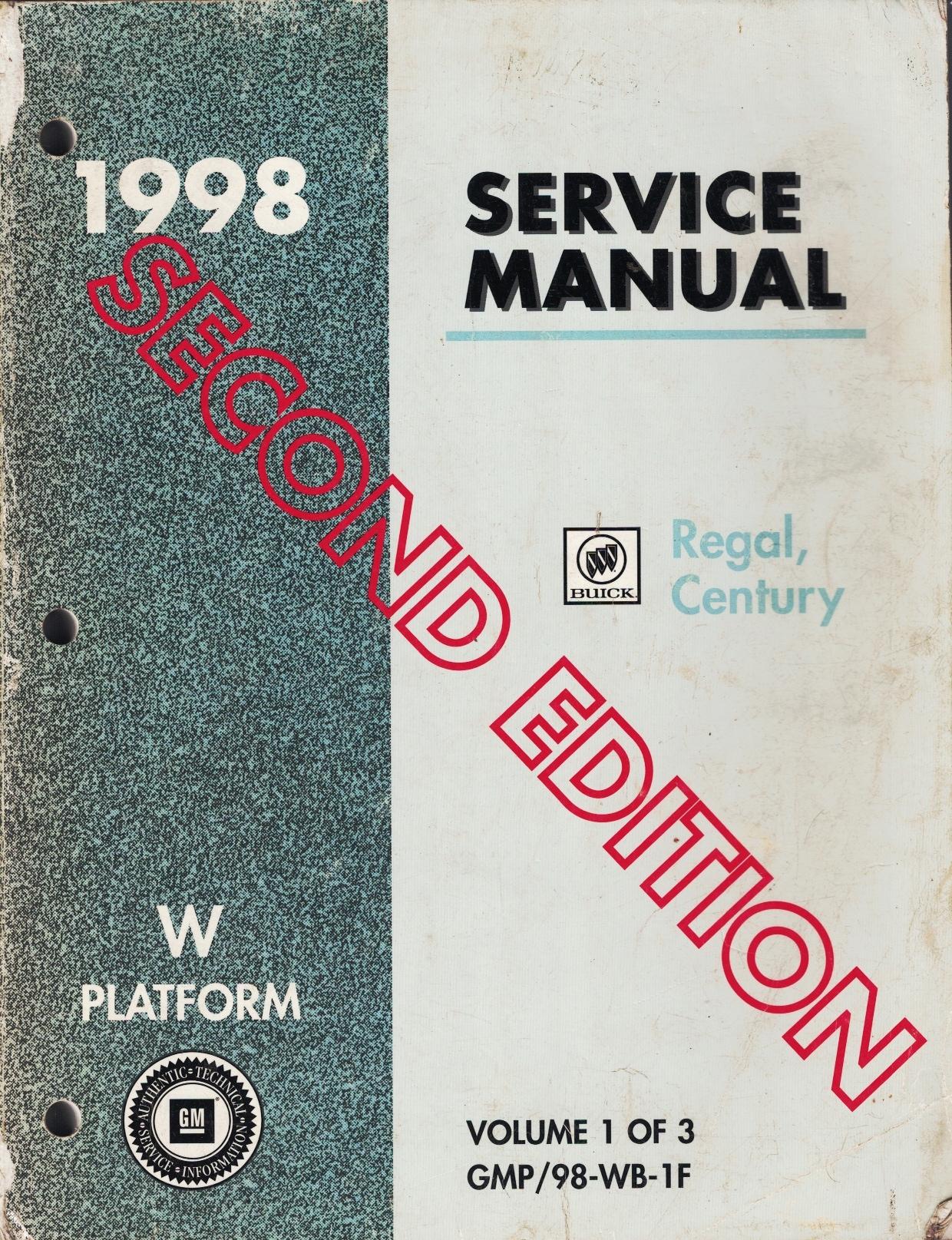 Image for 1998 W-Platform - Buick Regal, Century Service Manual (3 Volume Set) (Second Edition)