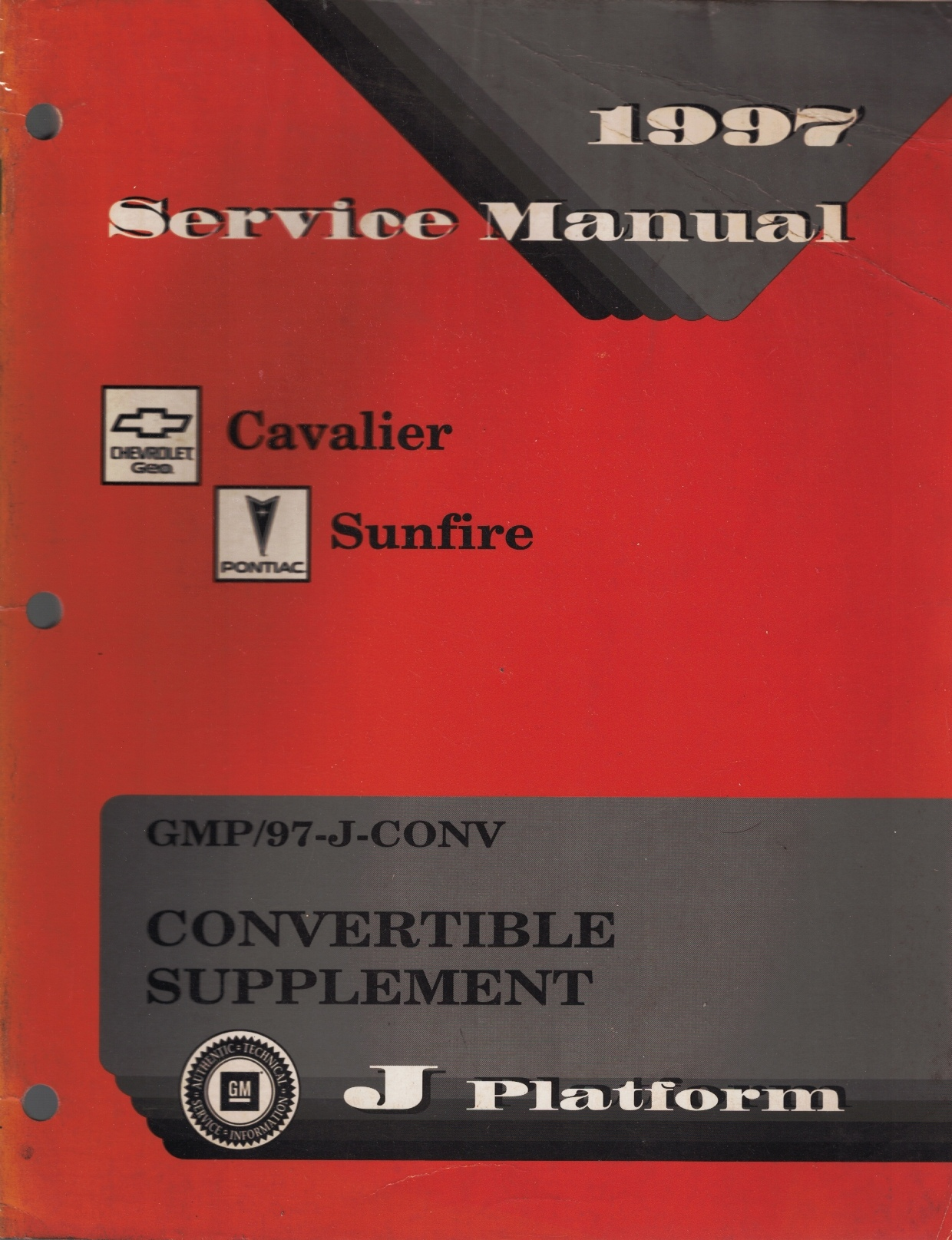 Image for 1997 J-Platform - Chevrolet Cavalier, Pontiac Sunfire Convertible Supplement  Service Manual