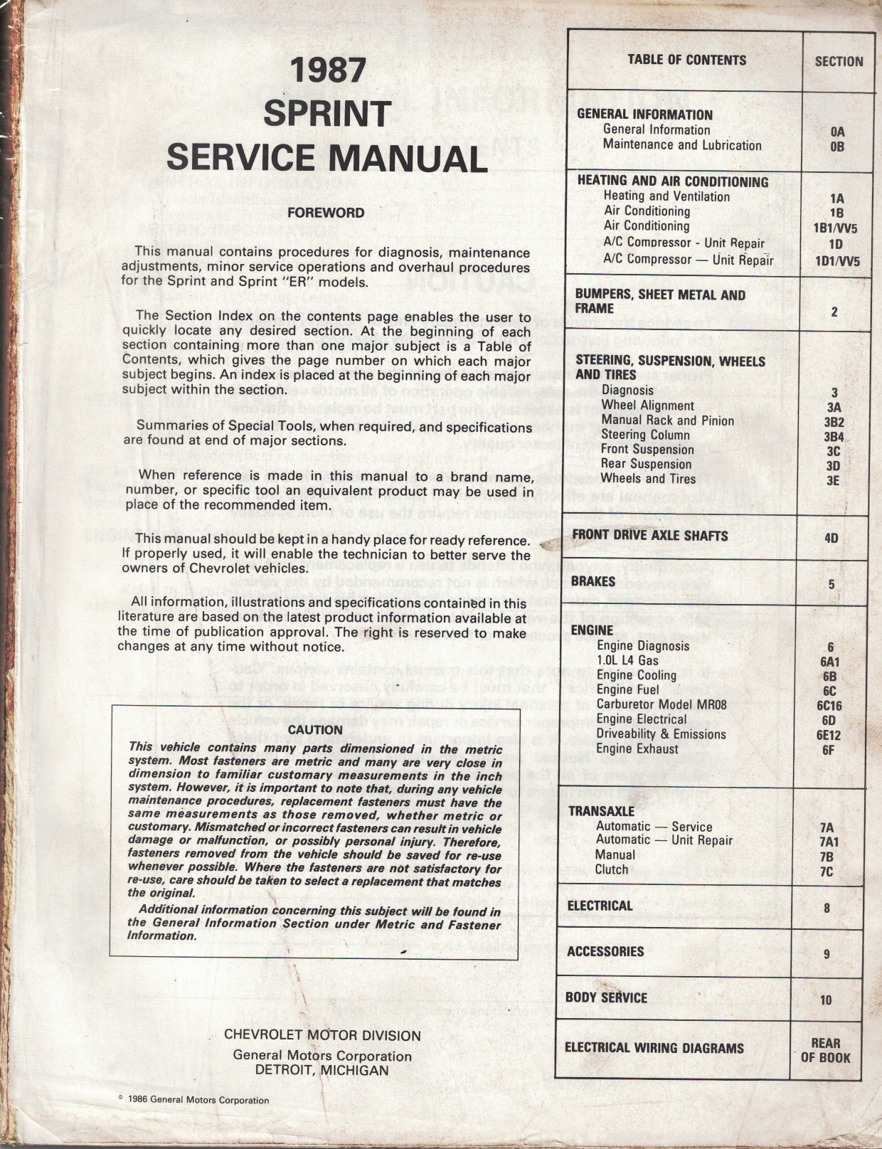 "Image for 1987 Chevrolet Sprint Service Manual - 3 Volume Set; includes the ""Service Manual"", the ""Electrical Diagnosis Service Manual Supplement"", and the ""Service Supplement - Covering the Sprint Turbo Model"""