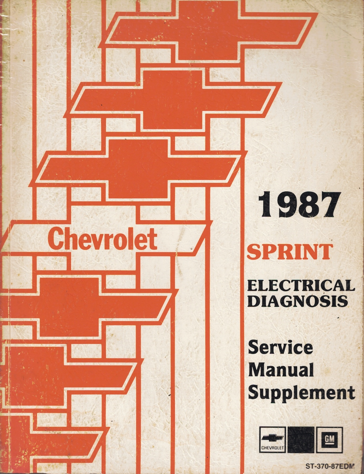 """Image for 1987 Chevrolet Sprint Service Manual - 3 Volume Set; includes the """"Service Manual"""", the """"Electrical Diagnosis Service Manual Supplement"""", and the """"Service Supplement - Covering the Sprint Turbo Model"""""""