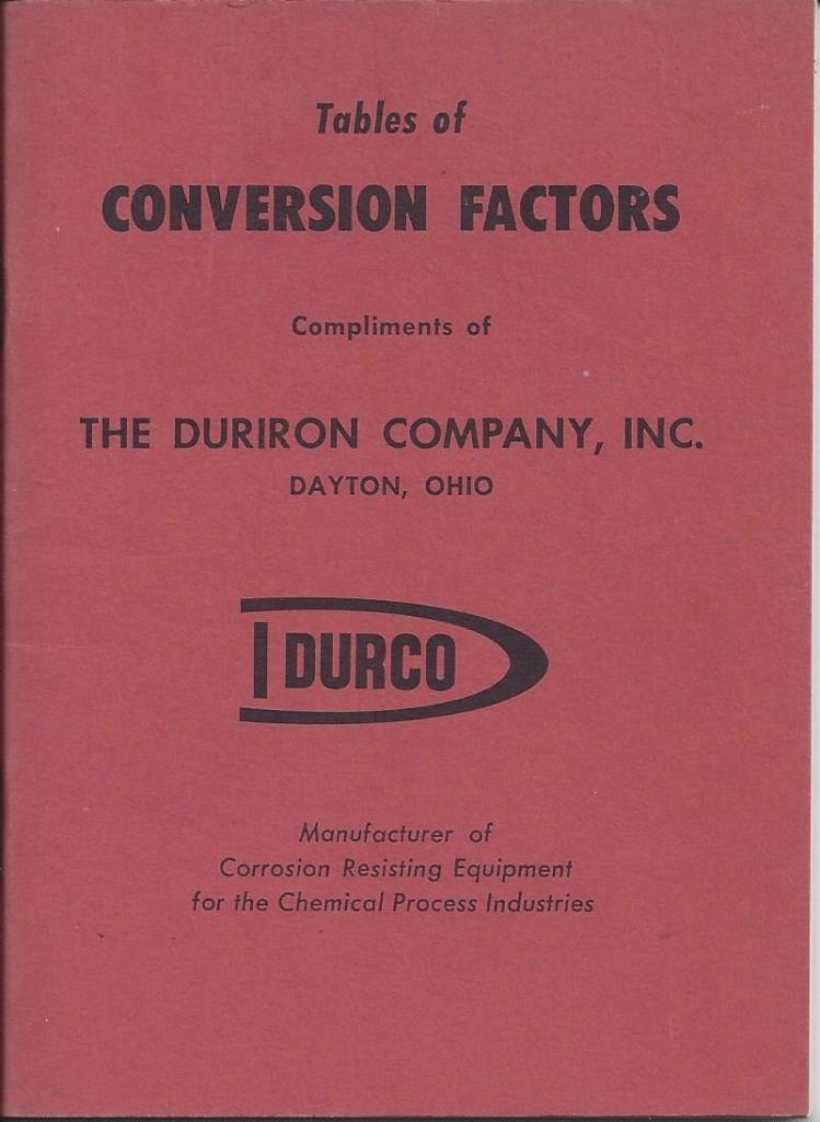 Durco Tables Of Conversion Factors, N/A