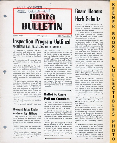 Image for NMRA Bulletin Magazine, March 1954 (20th Year No. 7): Official Publication of the National Model Railroad Association Series