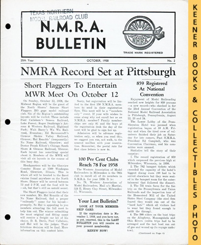 Image for NMRA Bulletin Magazine, October 1958 (25th Year No. 2): Official Publication of the National Model Railroad Association Series