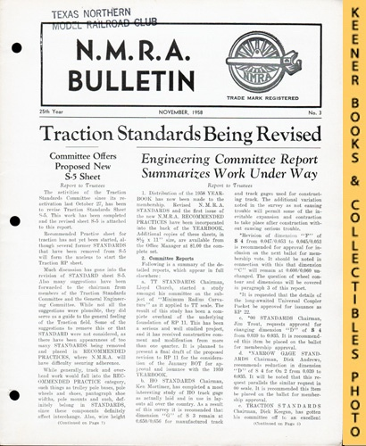 Image for NMRA Bulletin Magazine, November 1958 (25th Year No. 3): Official Publication of the National Model Railroad Association Series