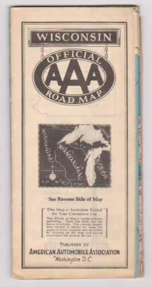 Image for Wisconsin Highway Map :  Official Road Map Published by American Automobile Association, 1937