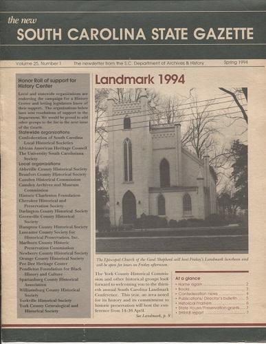 Image for The New South Carolina State Gazette, Spring 1994 Volume 25, Number 1