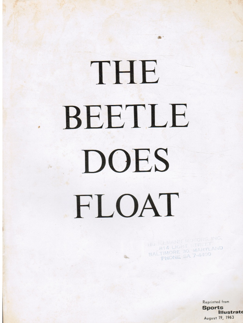Image for The Beetle Does Float Volkswagon