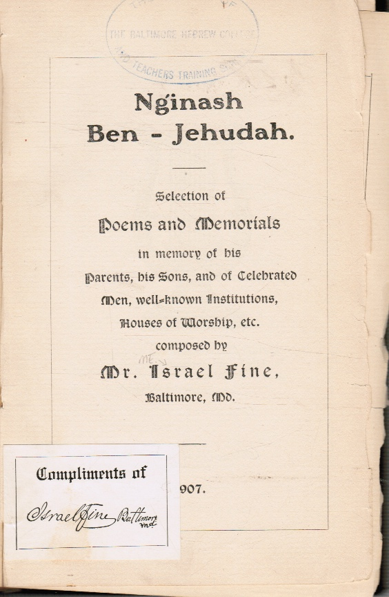 Image for Nginash Ben Jehudah : Selection of Poems and Memorials