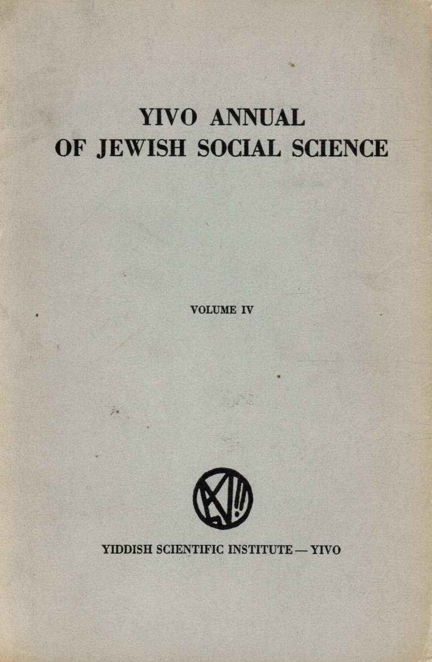 Image for YIVO Annual of Jewish Social Science: Volume IV