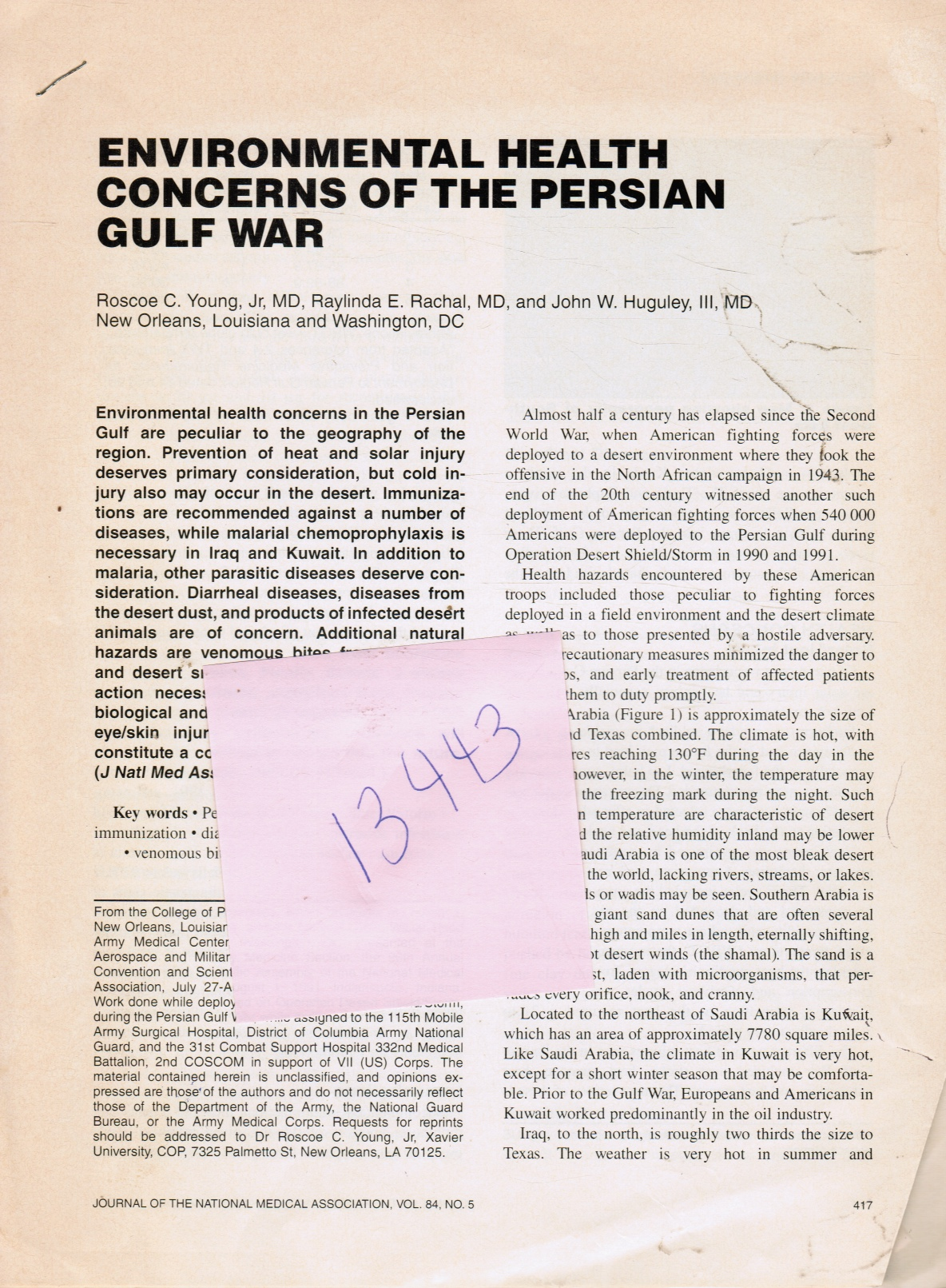 Image for Environmental Health Concerns of the Persian Gulf War