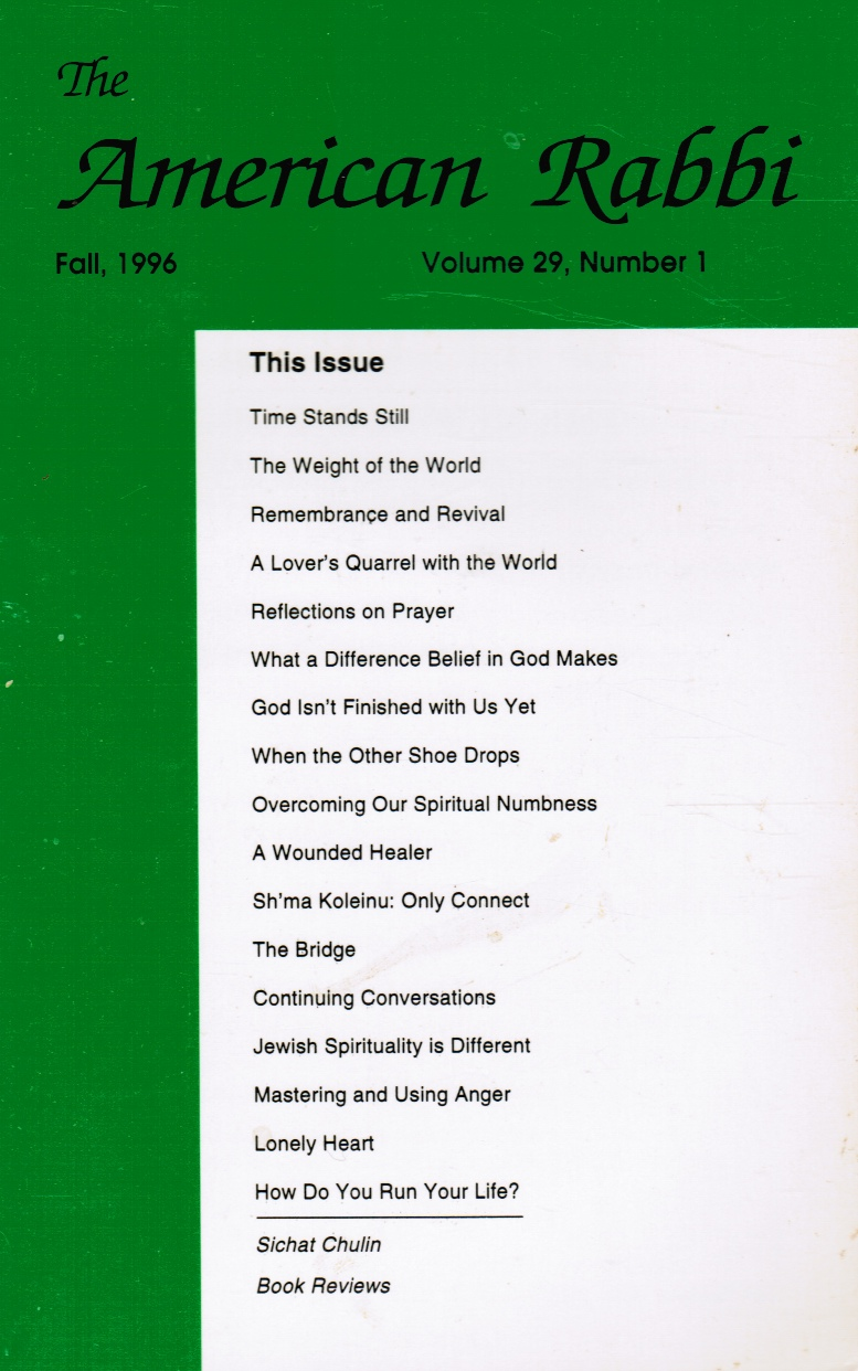 Image for The American Rabbi: Volume 29, Number 1, Fall 1996