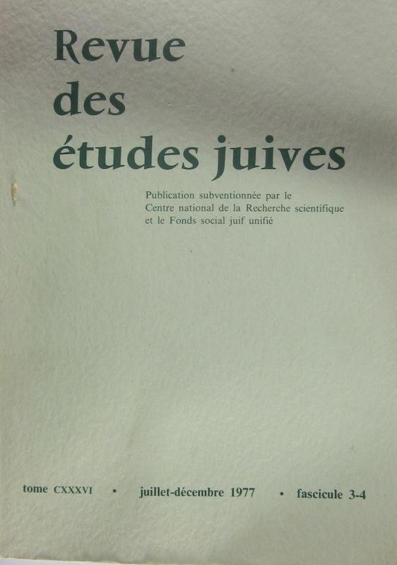 Image for Revue Des Etudes Juives Juillet-Dec 1977