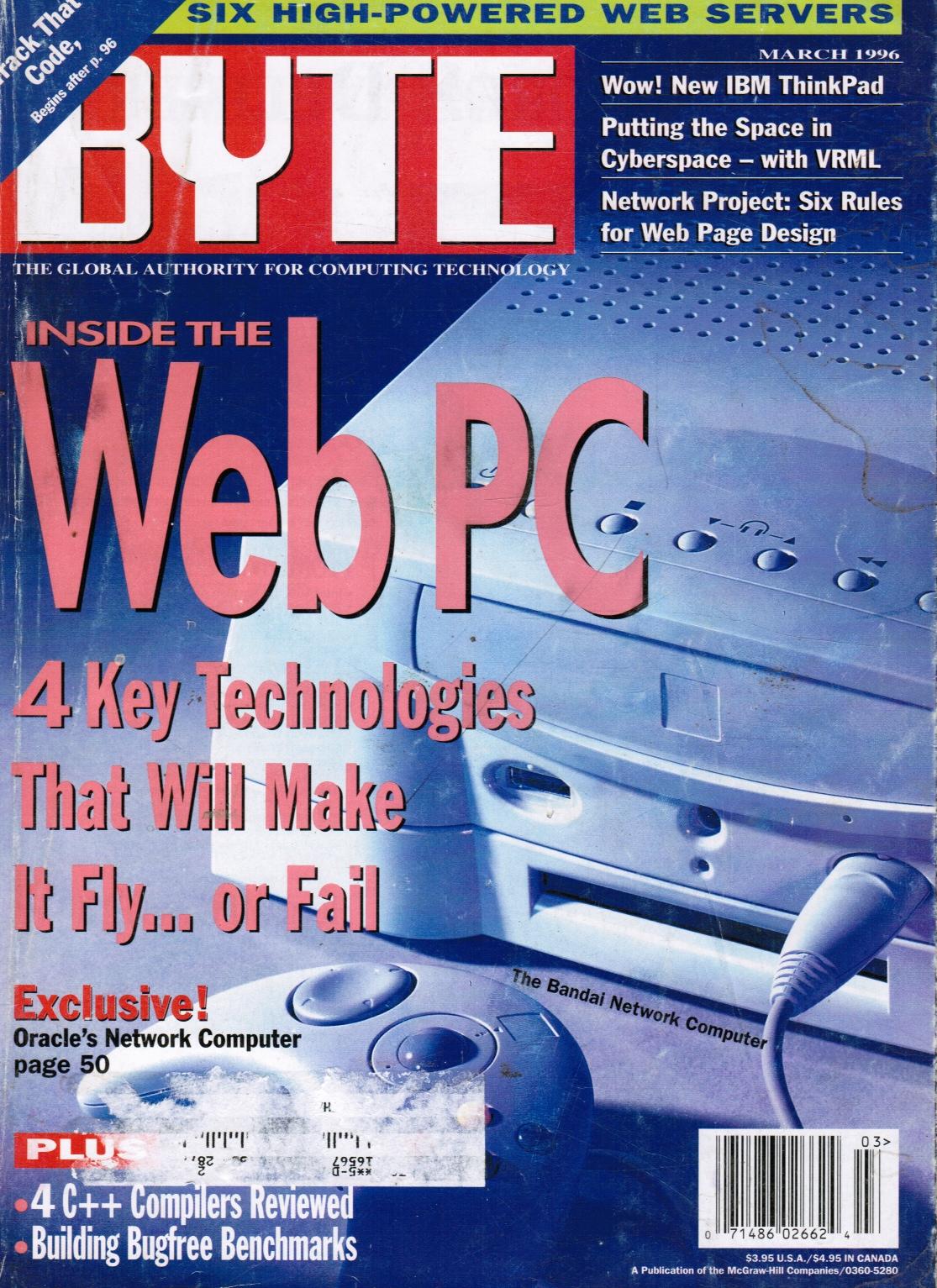 Image for BYTE Magazine March 1996 Web PC, Web Servers, Multimedia, Bill Gates; Jerry Pournelle