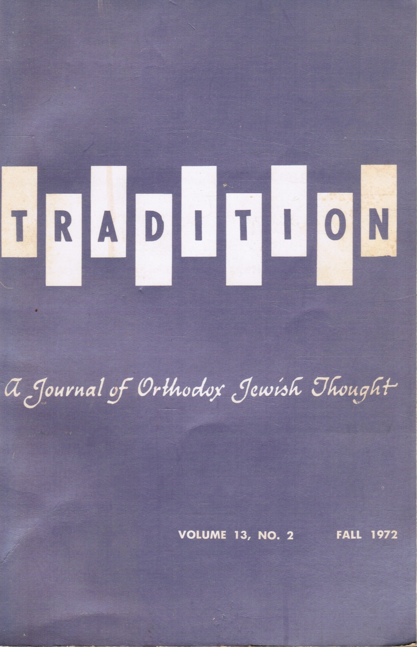 Image for Tradition: a Journal of Orthodox Jewish Thought: Fall 1972